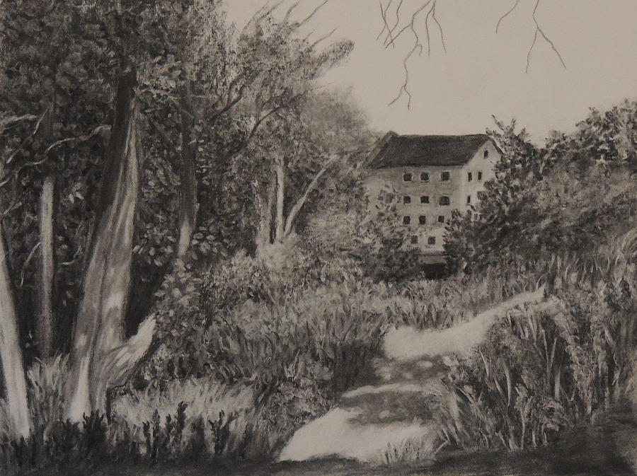 Landscape Drawing - Old Mill by Lisa MacDonald