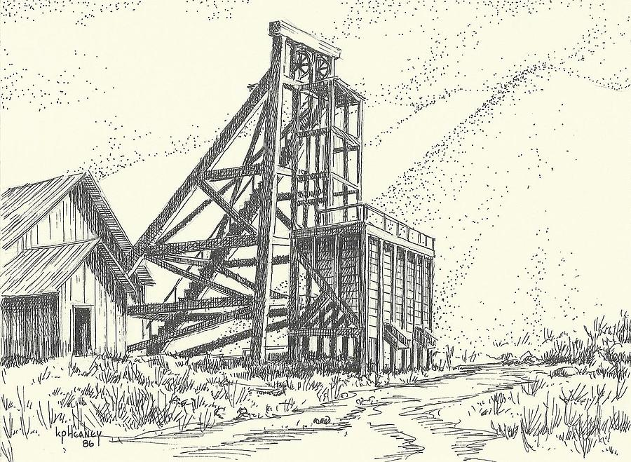 Mine Drawing - Old Mine Tonopah Nevada by Kevin Heaney