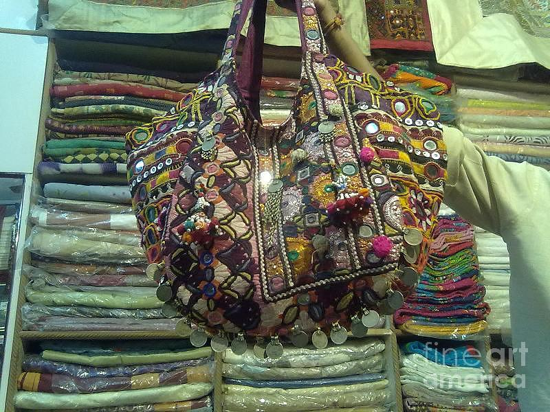 Patchworks Tapestry - Textile - Old Mirror Work Bag by Dinesh Rathi
