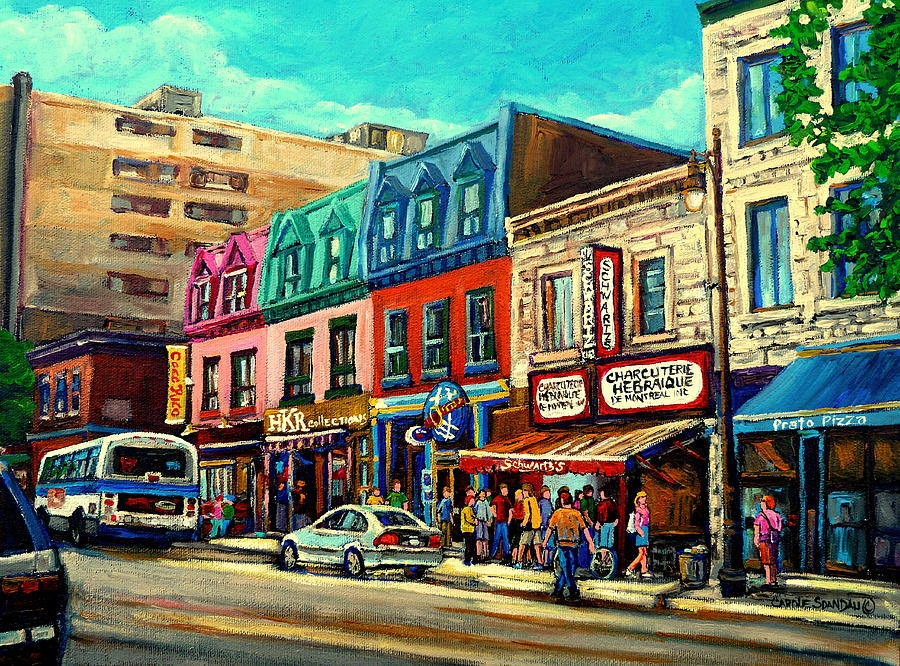 Montreal Streets Painting - Old Montreal Schwartzs Deli Plateau Montreal City Scenes by Carole Spandau