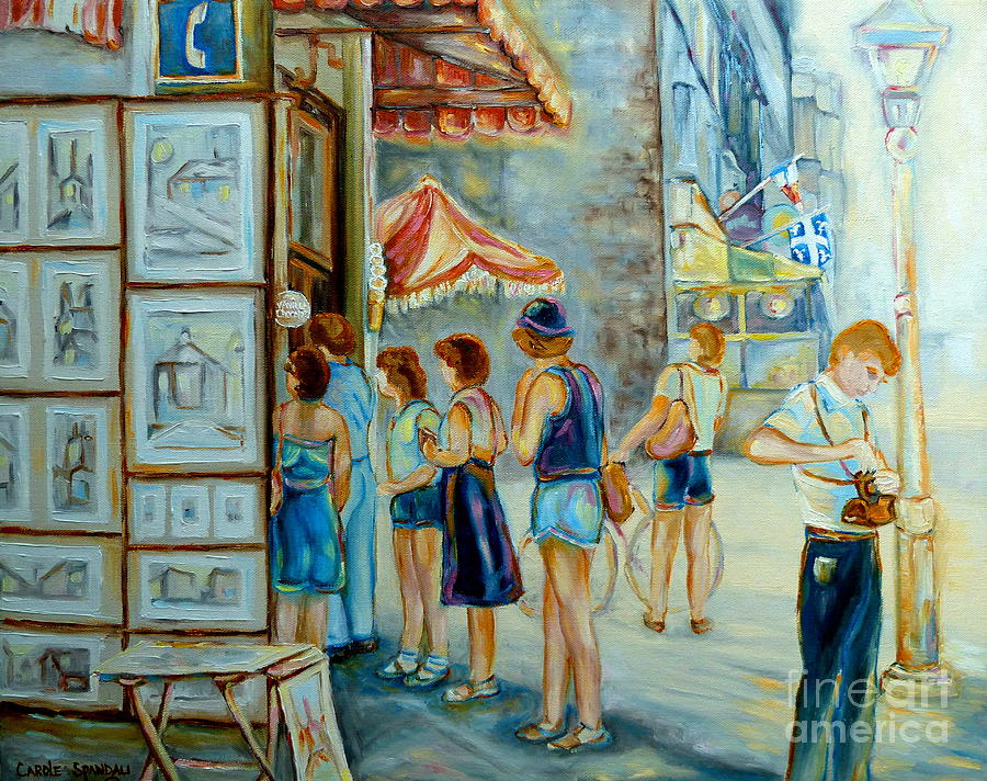 Montreal Painting - Old Montreal Street Scene by Carole Spandau