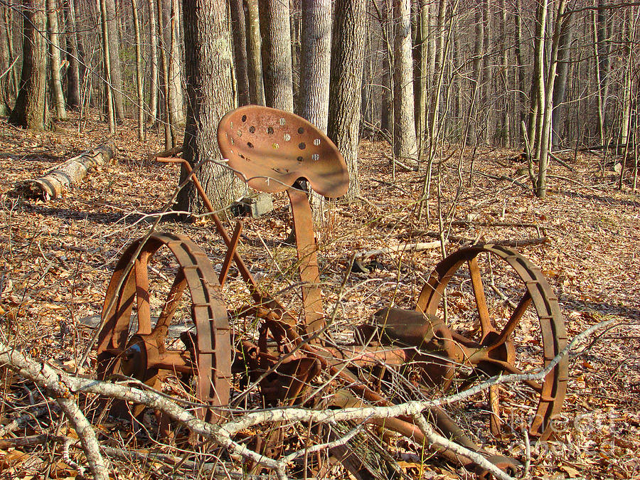Old Photograph - Old Mowing Machine by Sherry Vance