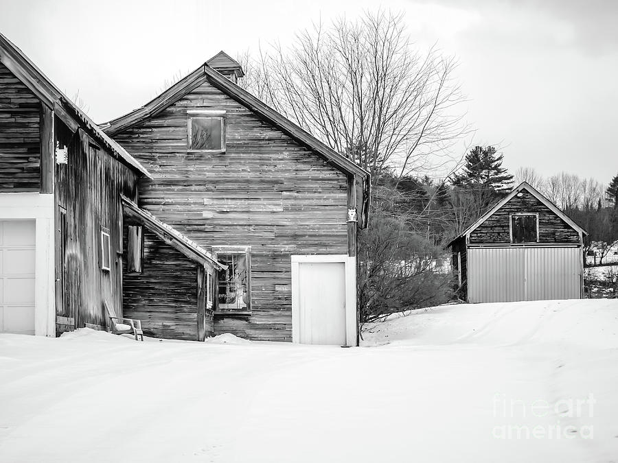 Enfield Photograph - Old New England Barns In Winter by Edward Fielding