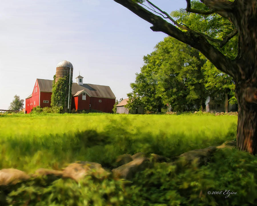 Farm Painting - Old New England Farm by Elzire S