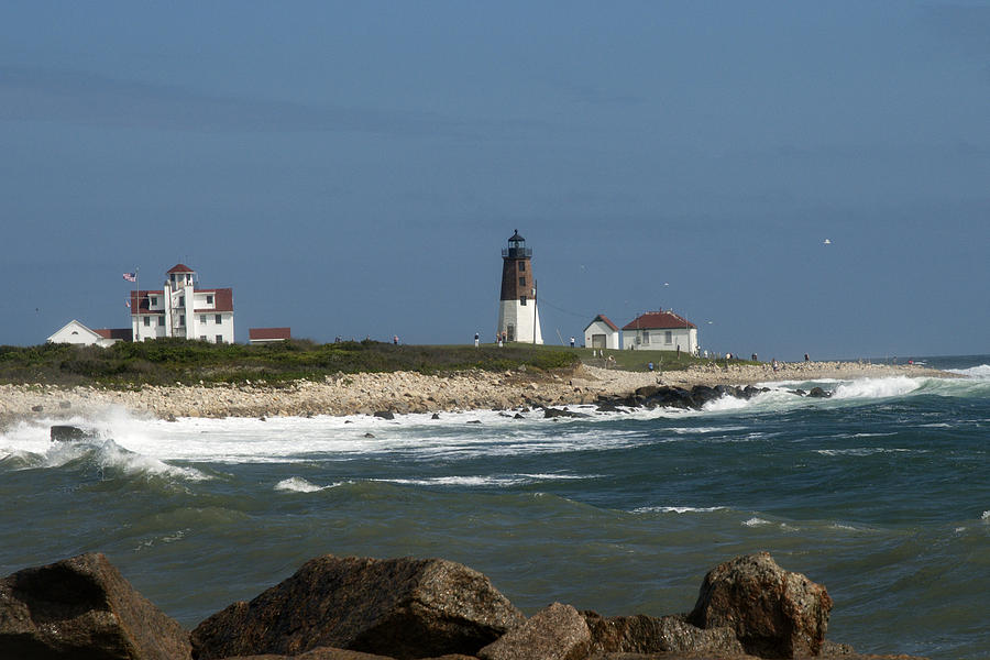 Coast Guard House Photograph - Old New England Lighthouse by Barry Doherty