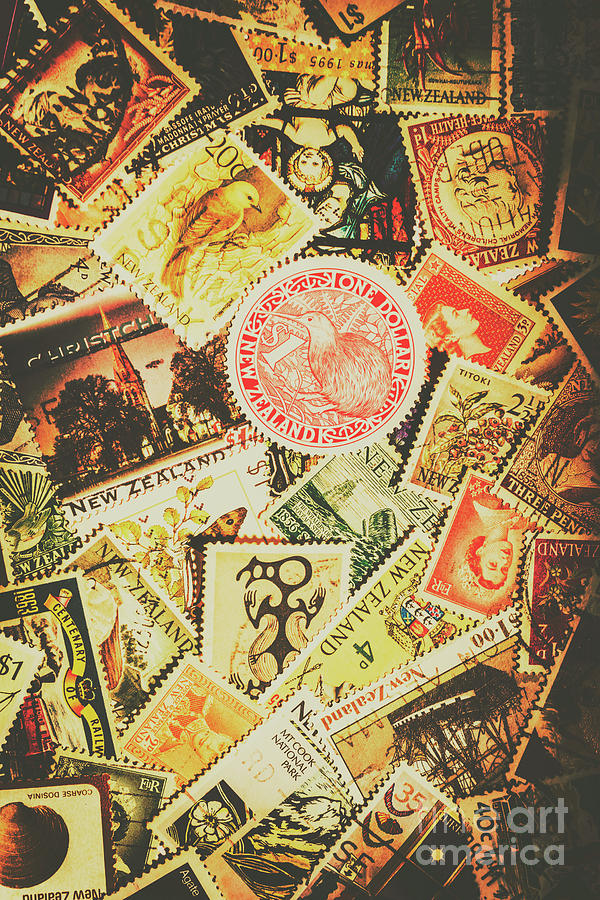 New Zealand Photograph - Old New Zealand Stamps by Jorgo Photography - Wall Art Gallery