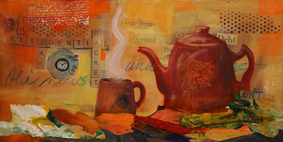 Coffee Mixed Media - Old News And Breakfast by Lynn Chatman