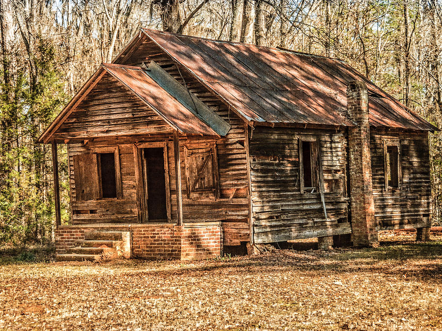 One Room Photograph - Old One Room School House by Phillip Burrow