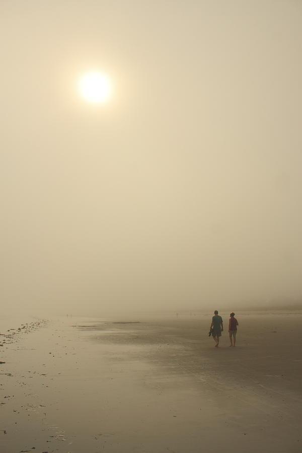 Beach Photograph - Old Orchard Beach Foggy Evening by John Burk