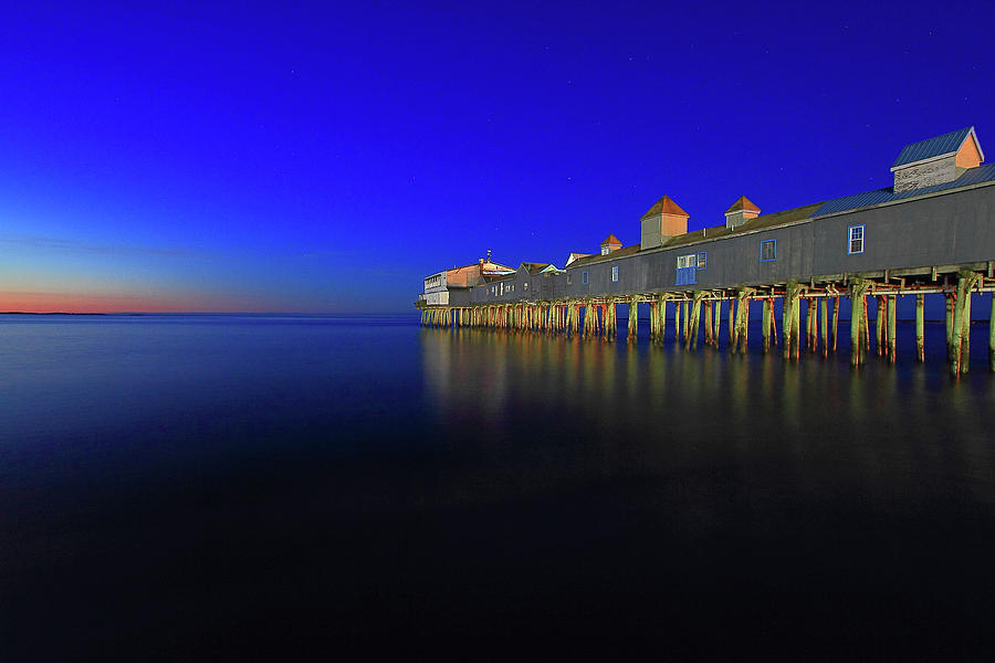 Old Orchard Beach Photograph - Old Orchard Beach Pier At Sunrise by Brian Pflanz