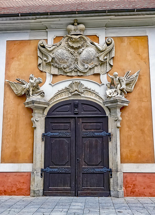 Cesky Krumlov Photograph - Old Ornate Door At The Cesky Krumlov Castle At Cesky Krumlov In The Czech Republic by Richard Rosenshein