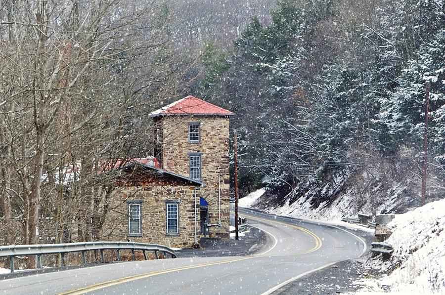 Stone Building Photograph - Old Paint Mill Winter Time by Stephanie Calhoun