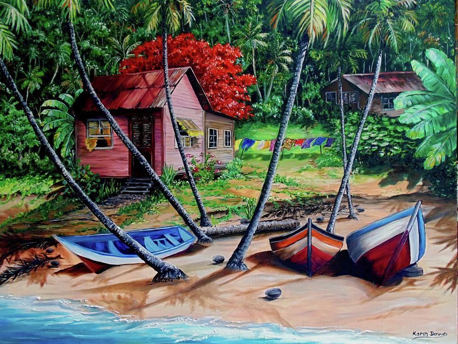 Tropical Painting - Old Palatuvia  Tobago by Karin  Dawn Kelshall- Best