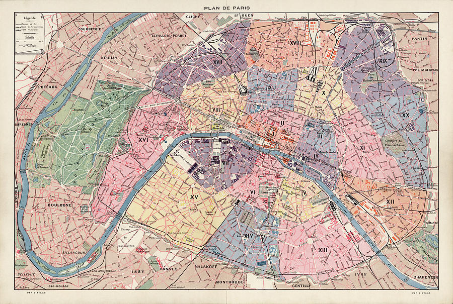 Old Paris Map By Fernand Bournon 1900 Drawing By Blue Monocle