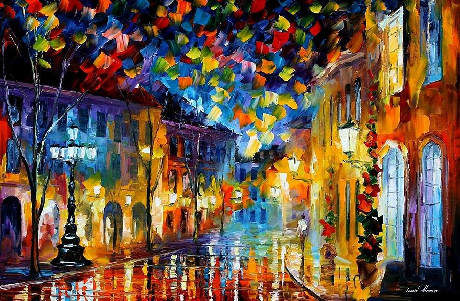 Art Gallery Painting - Old Part Of Town - Palette Knife Oil Painting On Canvas By Leonid Afremov by Leonid Afremov