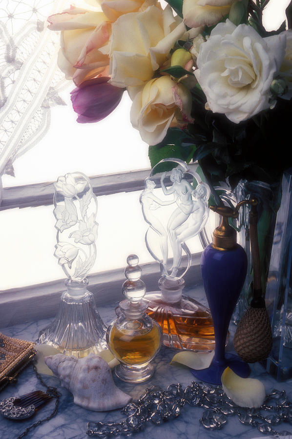 Old Photograph - Old Perfume Bottles by Garry Gay