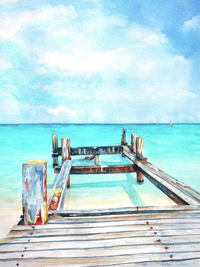 Old pier on Grace Bay at Club Med     by Carlin Blahnik CarlinArtWatercolor