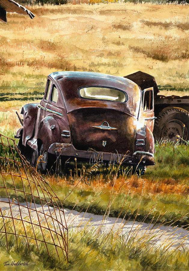Old Car Painting - Old Plymouth by Tom Hedderich