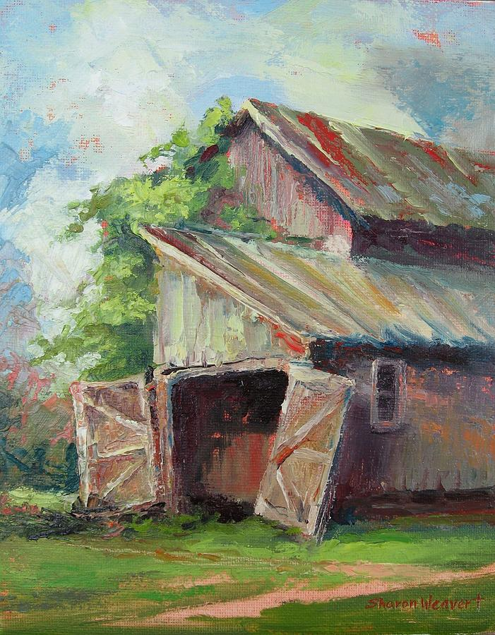 Pole Barn Painting - Old Pole Barn by Sharon Weaver