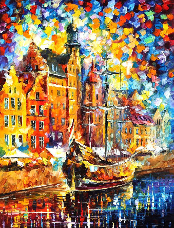 Old Port Palette Knife Oil Painting On Canvas By Leonid