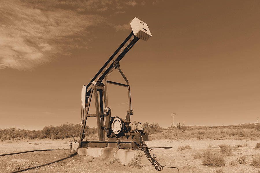 Oil Photograph - Old Pumpjack  Artesia New Mexico by Jeff Swan