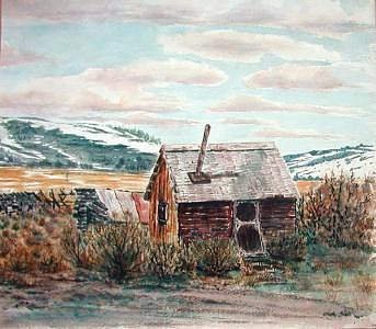 Old Ranch House Print by Veda Hale