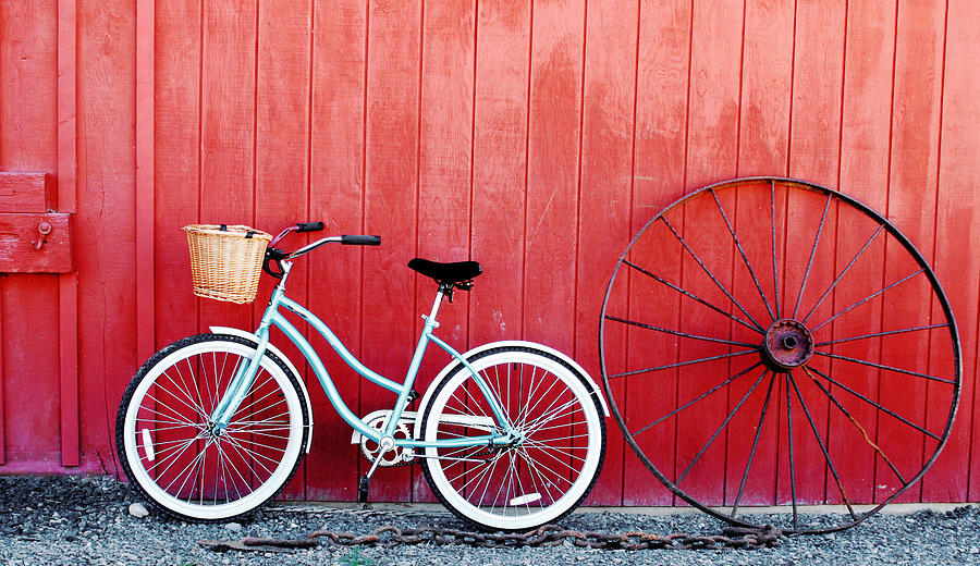 Bicycle Photograph - Old Red Barn And Bicycle by Margaret Hood