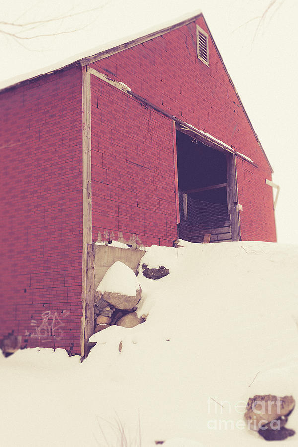 Enfield Photograph - Old Red Barn In Winter by Edward Fielding