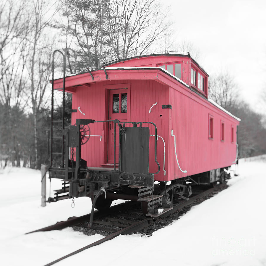Red Photograph - Old Red Caboose Square by Edward Fielding
