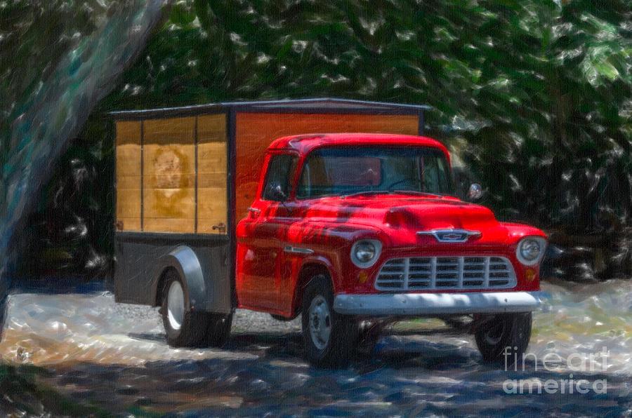 Old Red Chevrolet Work Truck Digital Art