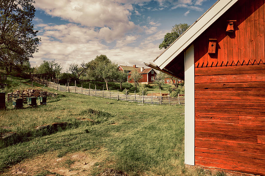 Old Red Farm Set In A Rural Nature Landscape Photograph