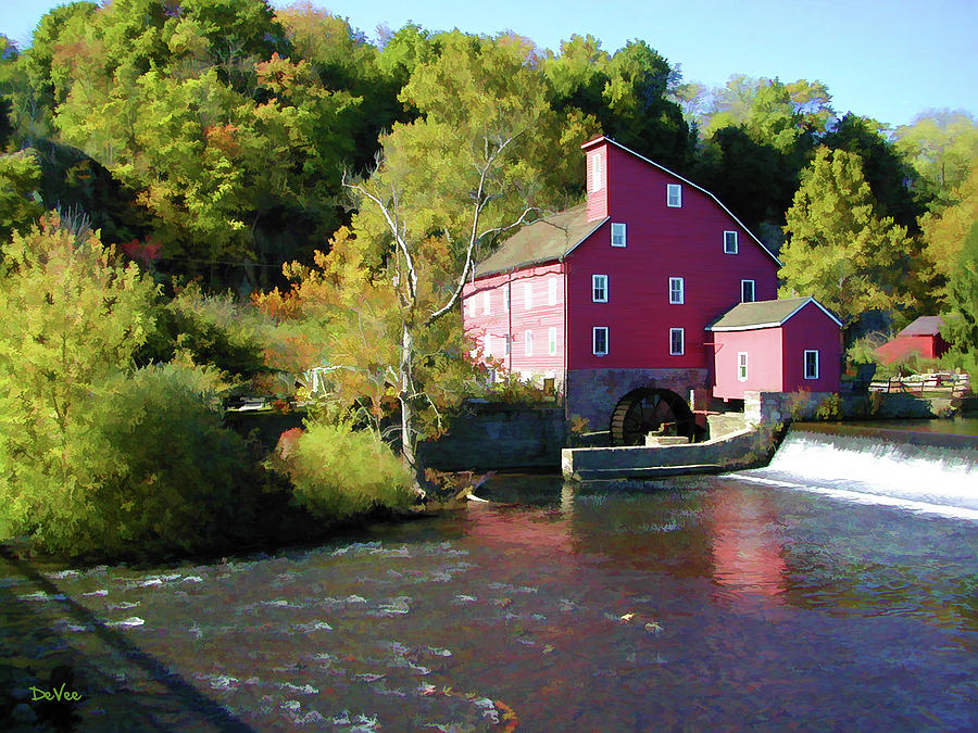 Clinton Digital Art - Old Red Mill by Doug Vance