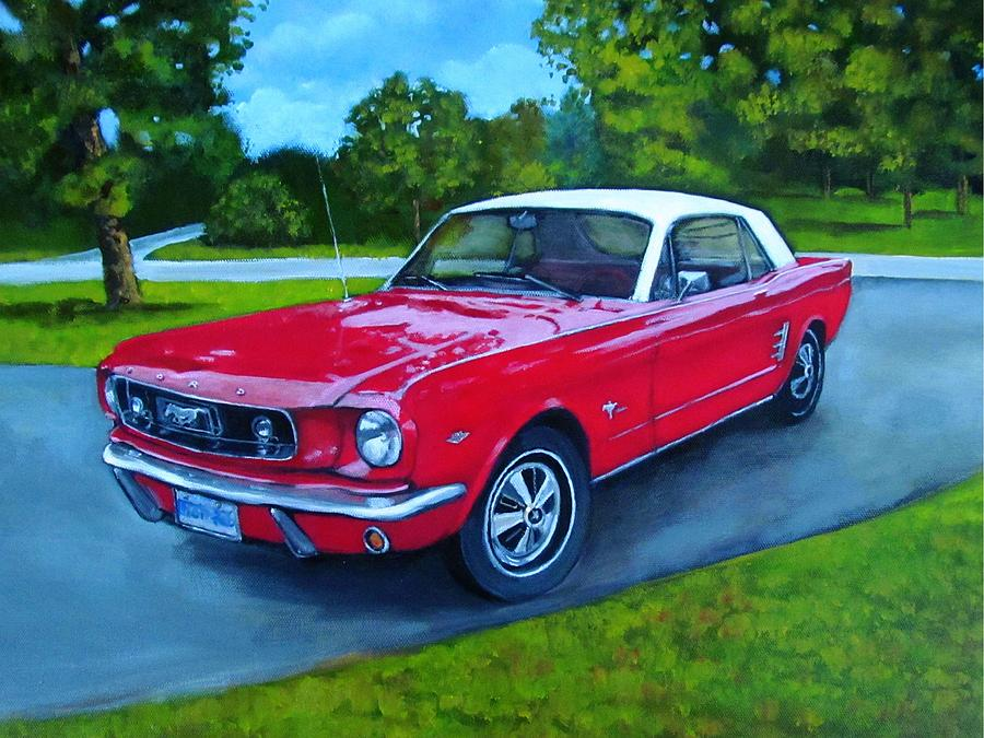 Old Red Mustang Car Painting By Joyce Geleynse