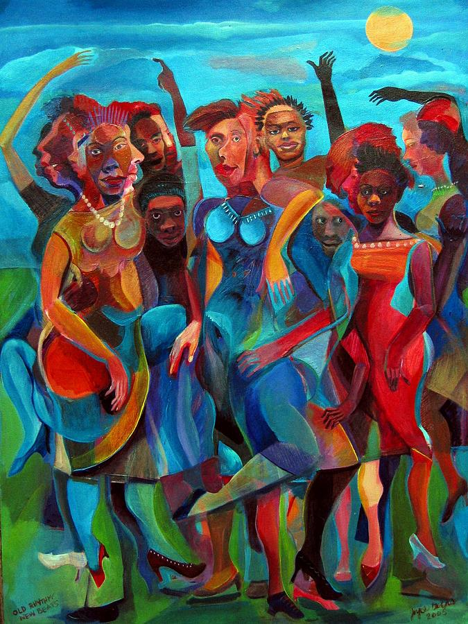 Figures Painting - Old Rhythms New Beats by Joyce Owens