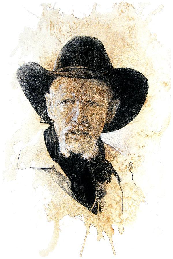 Cowboy Art Drawing - Old Rider by Debra Jones