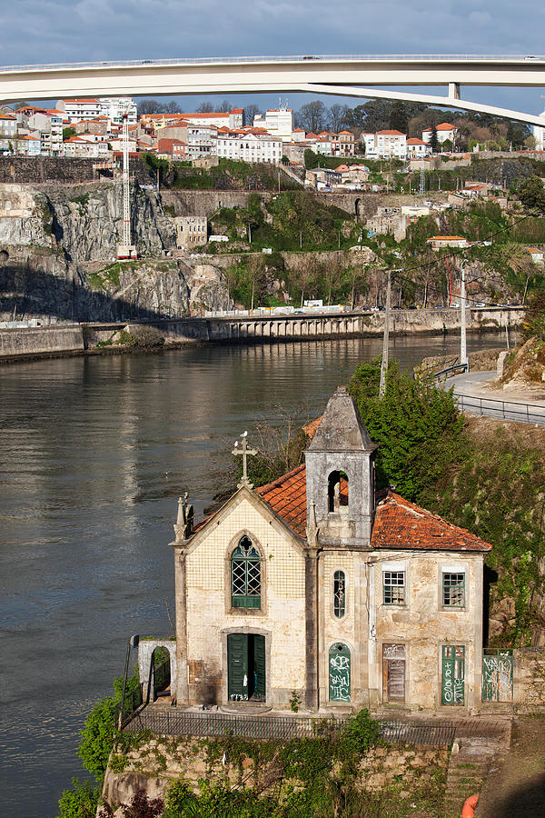 Bridge Photograph - Old Riverside Church In Portugal by Artur Bogacki