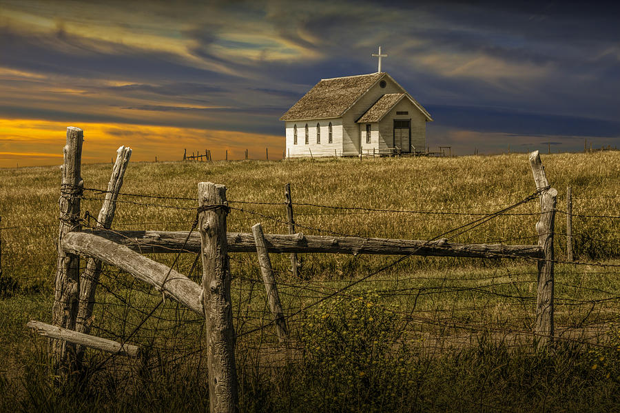 Old Rural Country Church At Sunset Photograph By Randall Nyhof