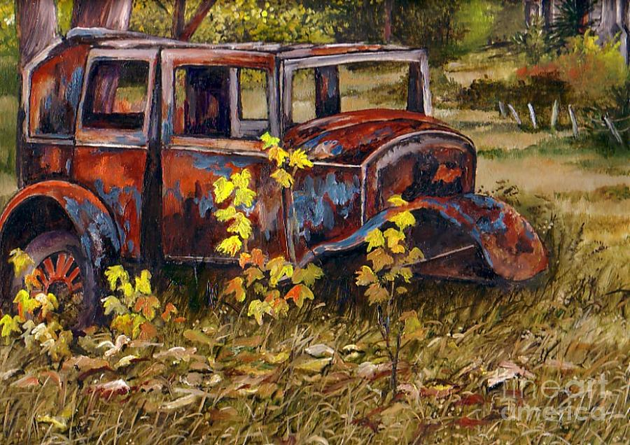 Old Rust Bucket Painting By Val Stokes