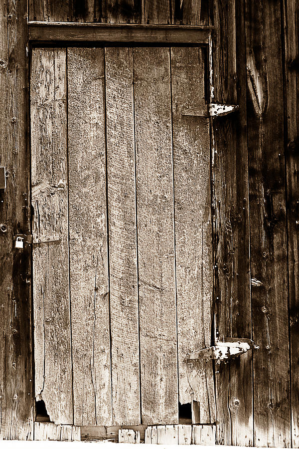 Old Photograph - Old Rustic Black And White Barn Woord Door by James BO  Insogna