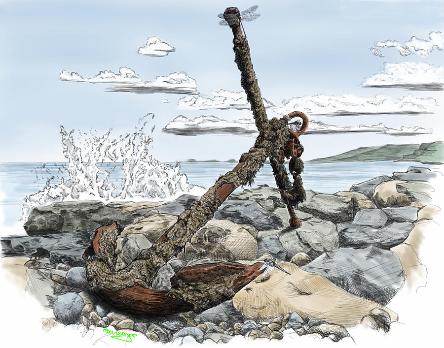 Anchor Digital Art - Old Rusty Anchor by Myke  Irving