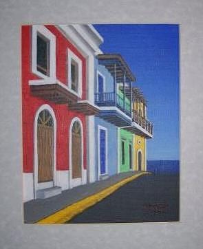 Street Painting - Old San Juan Puerto Rico by Edwin Alverio