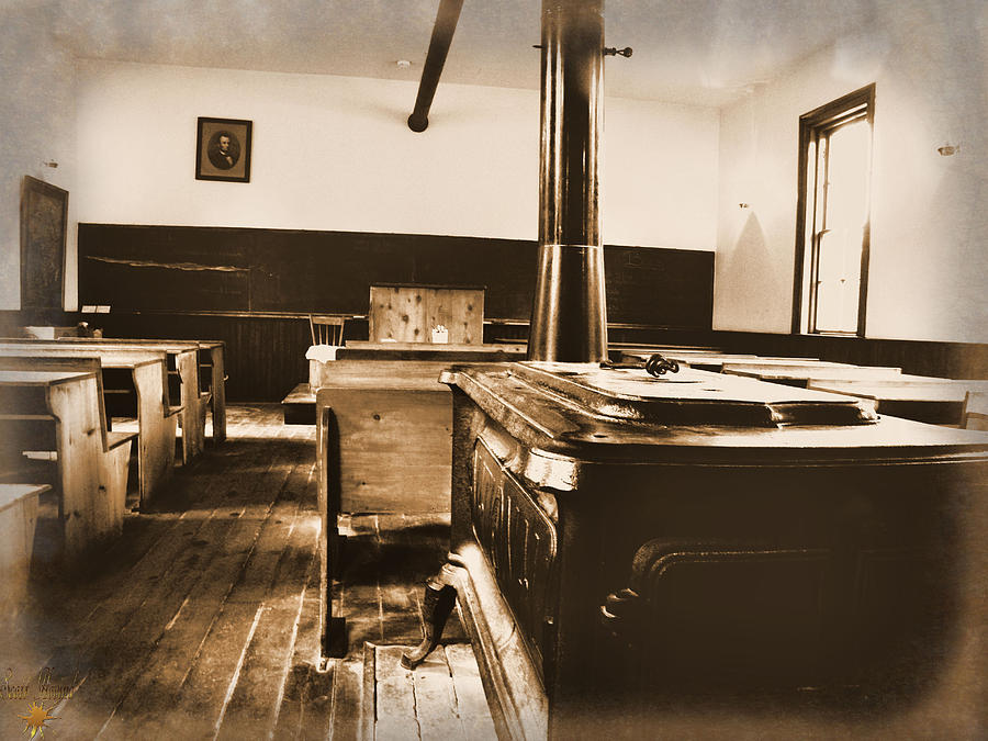 Sepia Photograph - Old School Interior by Scott Hovind