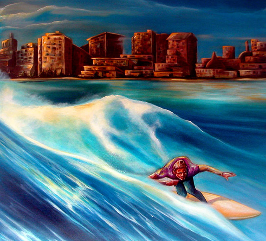 Surf Painting - Old School Long Beach by Robert  Nelson