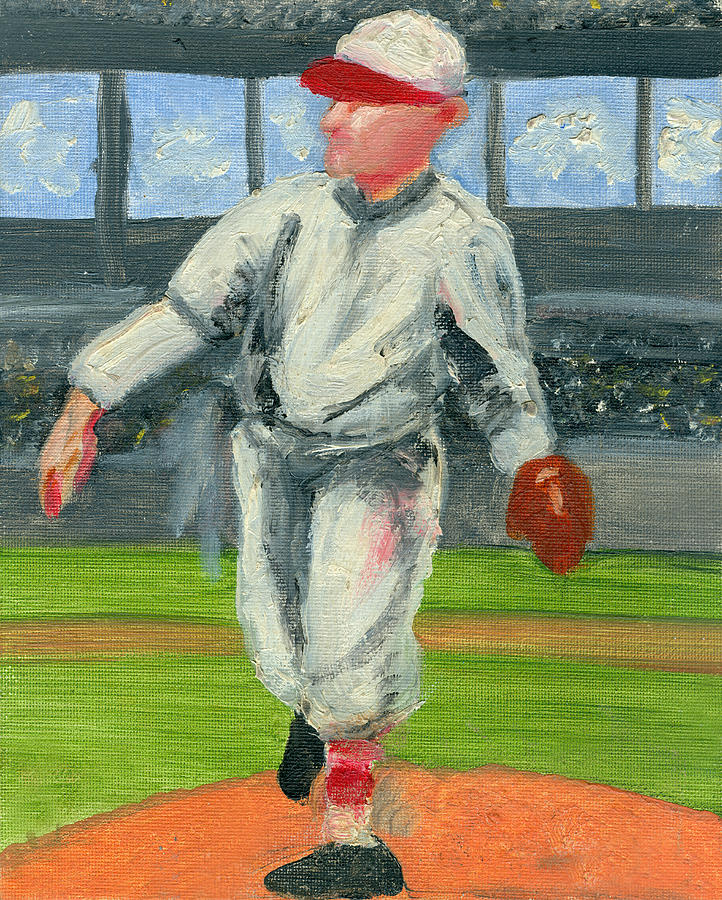 Baseball Painting - Old School Pitcher by Jorge Delara