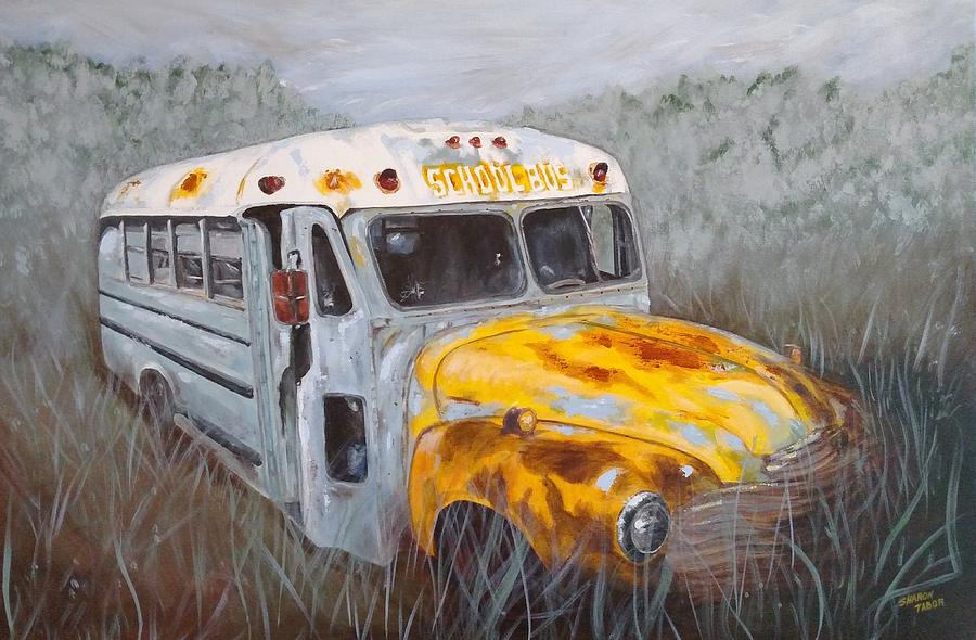 School Bus Painting - Old School Style by Sharon Tabor