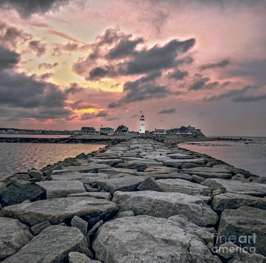 Old Scituate Light At The End Of The Jetty Photograph