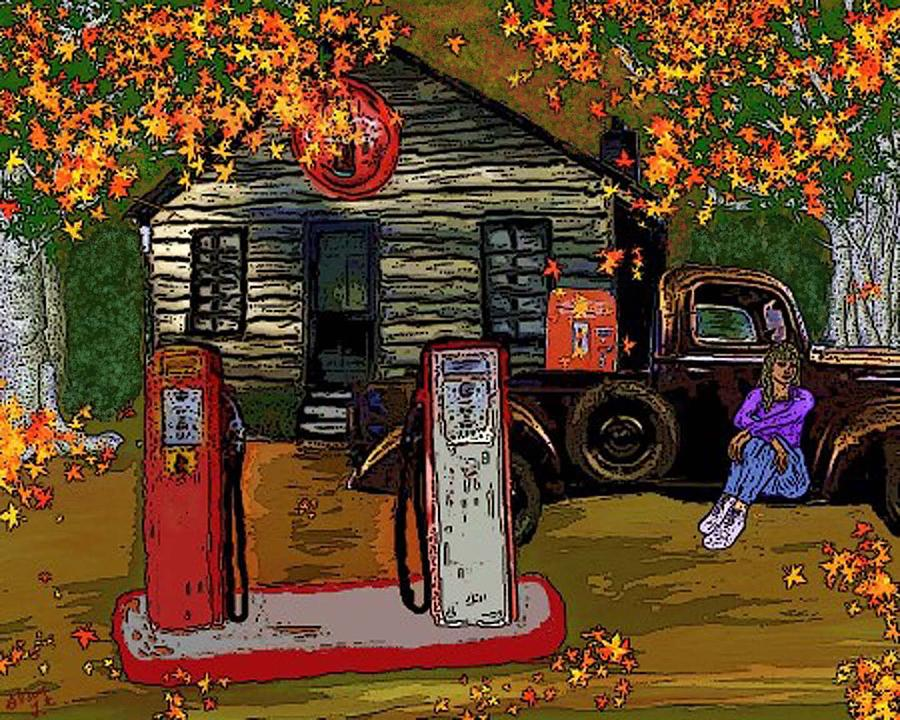 Truck Painting - Old Service Station by Glorie Tortoso