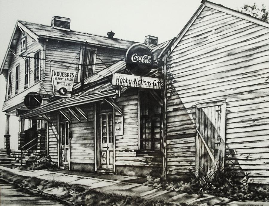 Shawneetown Drawing - Old Shawneetown by Michael Lee Summers