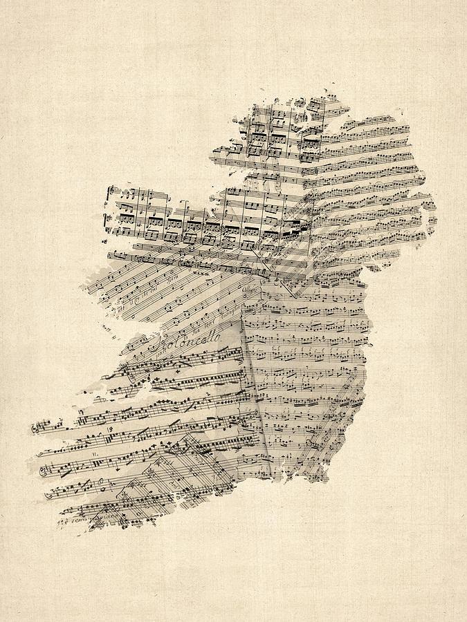 Music Map Digital Art - Old Sheet Music Map Of Ireland Map by Michael Tompsett