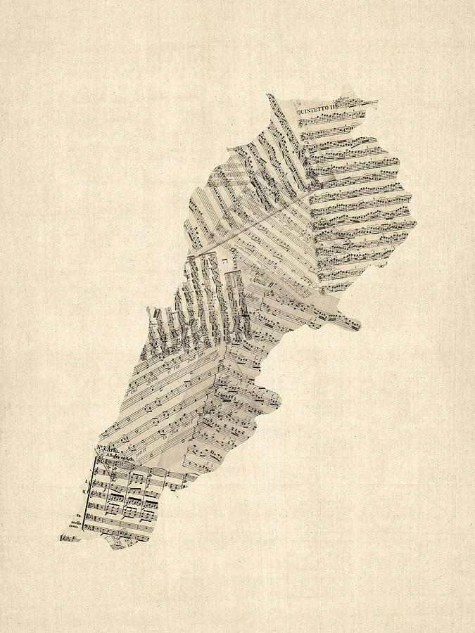 Cartography Digital Art - Old Sheet Music Map Of Lebanon by Michael Tompsett